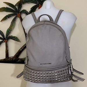 Michael Kors grey leather silver stud backpack
